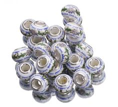 Eozy Clearance :10x15mm White Drawing Flower 925 Sterling Silver Porcelain European Charms Beads