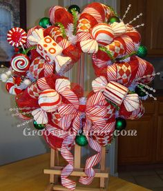 Red Merry Mints Christmas Wreath by GroovyGrannyWreaths on Etsy, $115.00