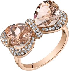 Ice 4 3/5 CT TW Morganite 14K Rose Gold Heart Shaped Bow Ring with Diamond Acccents