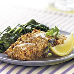 So good...we made last night. The delicate, subtle flavors of roasted pistachios and lavender honey transform this baked grouper into an easy, yet refined meal that family and friends will remember. Serve with sautéed spinach.Prep: 12 minutes; Cook: 12 minutes