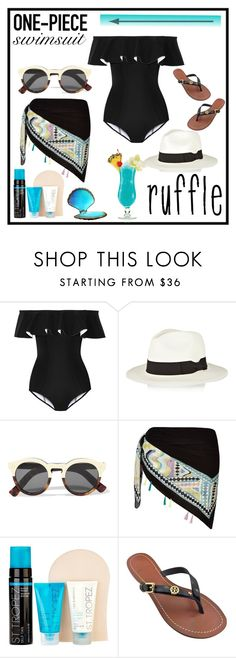 """Ruffled Up Swimwear"" by diane-fritz-sager ❤ liked on Polyvore featuring Lisa Marie Fernandez, Sensi Studio, Illesteva, River Island, St. Tropez, Tory Burch and ruffledswimwear"