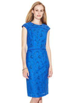 ANNE KLEIN DRESS Matisse Jacquard Piped Sheath Dress