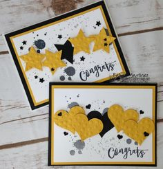 Two Simple Congrats Cards using Stamnpin' Up Basic Gray, Basic Black & Crushed Curry! Katrina Martinez