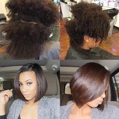 #ShareIG Natural silk press; yes! ❤️✂️ @hairbyfirstladybri #naturalhair #boblife #healthyhair #freshcut #thecutlife