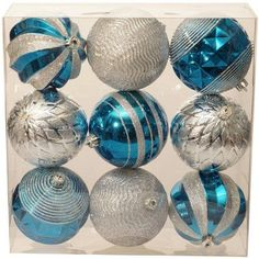 Holiday Time Christmas Ornaments Traditional 100mm Shatterproof, Set of 9, Teal Gem / Silver, Multicolor