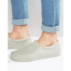 ASOS Slip On Plimsolls in Grey ($27) ❤ liked on Polyvore featuring men's fashion, men's shoes, men's sneakers, cream, mens slip on sneakers, mens slipon shoes, mens canvas slip on sneakers, mens grey sneakers and mens gray dress shoes