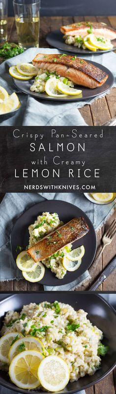 Crispy Pan-Seared Salmon with Creamy Lemon Rice