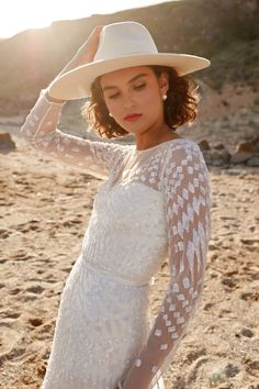karen willis holmes 2020 bridal illusion long sleeves jewel neckline fully embellished sheath wedding dress keyhole back chapel train zv -- Karen Willis Holmes Wedding Dress Australian Wedding Dress Designers, Australian Wedding Dresses, Designer Wedding Dresses, Wedding Suits, Boho Wedding, Dress Wedding, Karen Willis Holmes, Hippy Chic, Bridal Style