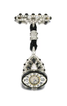 ENAMEL AND DIAMOND WATCH, AGASSIS, CIRCA 1925 Estimate: 8,000 - 12,000 GBP  LOT SOLD. 17,500 GBP  (Hammer Price with Buyers Premium) The circular dial applied with blued steel hands and Arabic numerals, suspended from a mount set with millegrain-set black enamel,circular-,single-cut, pear-shaped, and rose diamonds, French assay marks, indistinct makers marks, movement signed Agassis.