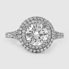 Platinum Gala Diamond Ring // Set with a 1.52 Carat, Round, Super Ideal Cut, E Color, VS1 Clarity Diamond #BrilliantEarth