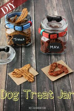 Easy DIY Dog Treat Jar That Is Modern and worthy of counter space! My human needs to make me one of these! Diy Dog Treats, Homemade Dog Treats, Dog Treat Recipes, Baby Food Recipes, Diy Tumblr, Pots, Dog Treat Jar, Secret Life Of Pets, Diy Holz