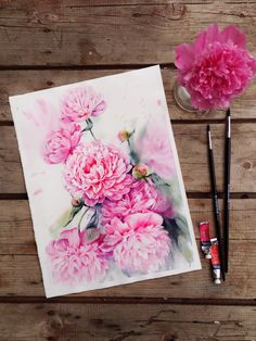 Steps of watercolor pink peonies on Behance