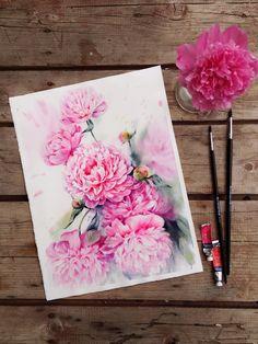 Steps of watercolor pink peonies on Behance