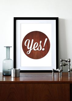 Typography poster print inspirational quote retro graphic mid century modern design wood kitchen art office - Yes A3  $29