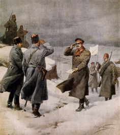 Resumption of war, Turkish parliamentarian arriving in Bulgarian camp bearing message announcing  end of  Armistice, By Achille Beltrame (1871-1945), illustration from La Domenica del Corriere, February 9, 1913