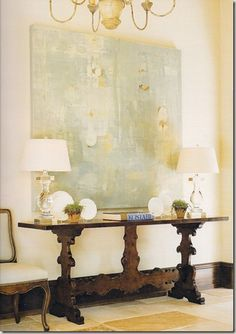 gray/blue contemporary art over carved console, glass lamps from Betty Lou Phillips' Inspirations from France & Italy
