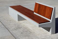 Znalezione obrazy dla zapytania wood recommended for urban furniture Concrete Bench, Concrete Furniture, Bench Furniture, Urban Furniture, Street Furniture, Furniture Plans, Furniture Making, Furniture Design, Outdoor Furniture