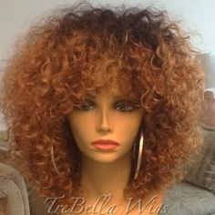 Short afro curly full lace wig ombre color full lace bob wig with bangs high density unprocessed hair kinky curly wig - May 04 2019 at Kinky Curly Wigs, Curly Hair Men, Kinky Hair, Big Hair, Human Hair Wigs, Curly Hair Styles, Natural Hair Styles, Wavy Hair, Full Hair