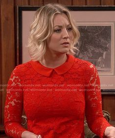 Penny's red collared lace dress on The Big Bang Theory.  Outfit Details: Ted Baker Ameera dress https://wornontv.net/56025/ #TheBigBangTheory