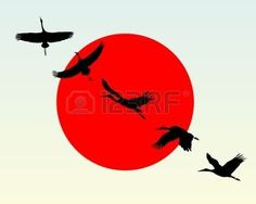crane bird: Silhouettes of flying cranes against the red sun Illustration
