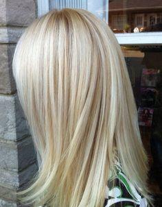 Ash blonde with dark gold low lites