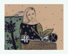 original art Woman flower illustration portrait by marina826