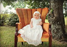 Darling Outside Christening Picture Idea. Clementine Gown by #BabyBeauandBelle