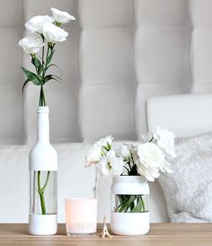 Cool painting ideas for DIY glass vases - cool painting idea for DIY vase in wh. - El yapımı ev dekorasyonu - Cool painting ideas for DIY glass vases – cool painting idea for DIY vase in white – - Diy Simple, Easy Diy, Cool Diy, Diy Upcycled Planters, Upcycled Garden, Upcycled Crafts, Garrafa Diy, Creation Deco, Wine Bottle Crafts