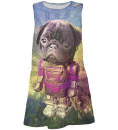 Gugu & Miss Go Fuchsia Pug Robot Sublimated Shift Dress - Toddler & Girls Toddler Girl Dresses, Toddler Girls, Kids Line, Little Princess, Tween, Teen Fashion, Pugs, Robot, Teddy Bear