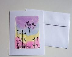 purple and pink, thank you card, hand painted thank you card, one of a kind, original