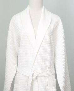 Au Lit Fine Linens | Waffle Robe with Linen Collar