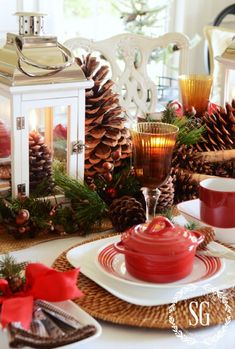 WOODLAND CHRISTMAS TABLESCAPE AND $250.00 GIVEAWAY.  Second pic of same tablescape from Stone Gable.