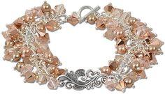 Silken Bouquet Bracelet by designer Rita Hutchinson featuring Rose Gold and Light Silk crystal beads, and Rose Gold and Bronze crystal pearls.