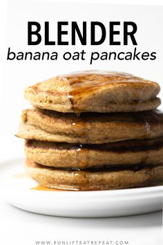 Start your mornings right with these banana oat pancakes. Made with ingredients in most kitchens and in a blender. The flavor and texture is out of this world! Banana Oat Pancakes, Banana Oats, Milk Recipes, Baking Recipes, Flour Recipes, Cake Recipes, Healthy Breakfast Recipes, Brunch Recipes, Healthy Desserts