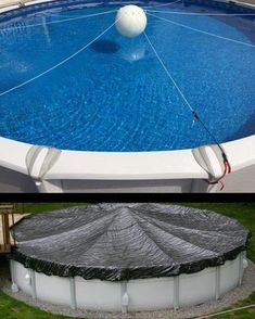 The cover is held up by the buoyancy of the ball combined with the tension of the stretch supports. The supports flex and retract under load, constantly adjusting to keep your pool cover out of the wa. Above Ground Pool Landscaping, Above Ground Pool Decks, Backyard Pool Landscaping, In Ground Pools, Above Ground Pool Cover, Luxury Landscaping, Winterize Above Ground Pool, Diy In Ground Pool, Landscaping Design
