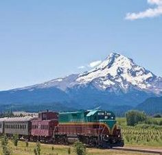 Mount Hood Railroad with Mount Hood in background, image