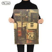 TIE LER Estados Unidos Ruta 66 Gasolinera Etiqueta de La Pared Retro Papel Kraft Nostalgia Poster 51.5x36 cm(China (Mainland))