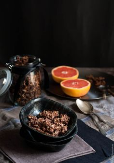 A tasty granola that doesn't come with a mile long list of ingredients. Honey, tahini and cocoa powder are the main players, resulting in a healthy and wholesome breakfast.