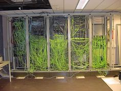 Server Room Cabling Neon Green Mess