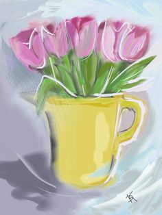 Picture: Tulips  #illustration #picture #flowers #tulips #stilllife #pics #art daaashiky@gmail.com