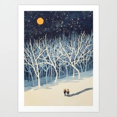 If on a Winter's Night Young Lover's... Art Print by Paul Sheaffer - $18.00