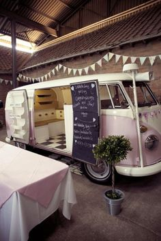 Food Inspiration  Bubble gum pink Food Truck with chalkboard door. Super cute.
