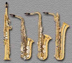 The four most common members of the saxophone family. From left: soprano sax in B-flat, alto sax in E-flat, tenor sax in B-flat, and baritone sax in E-flat.