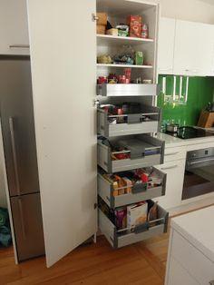 blum pantry - Google Search Kitchen Pantry, Kitchen Cabinets, Kitchen Appliances, Kitchen Ideas, Kitchen Reno, Larder Storage, Kitchen Storage, Brown Kitchens, Home Kitchens