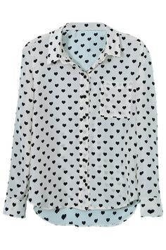 Hearted Printed Casual Stytle White Shirt