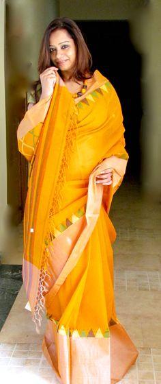 #Saree from Phulia #Cotton #handloom with #Tussar Border
