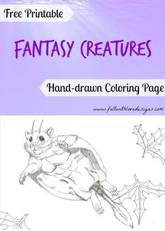 #FreePrintable hand-drawn Fantasy Creatures #ColoringPages – Pancake Glider {Felt With Love Designs}
