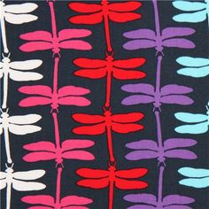 dark blue dragonfly animal fabric by Robert Kaufman