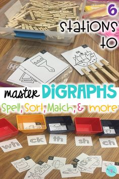 These 6 word work stations will help students master consonant digraphs while having fun during literacy centers or Daily Five. Word sorts with pictures support spelling patterns for digraphs. All words in this resource use short vowels and initial and final digraphs. Teachers can use the activities for teaching phonics and foundational skills in first grade and kindergarten. Extend student learning with worksheets that can be used as progress checks, class work or homework.
