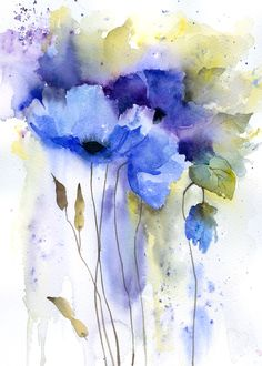 Watercolor Painting Techniques, Watercolor Projects, Watercolor Cards, Abstract Watercolor, Watercolor Illustration, Watercolor Flowers, Abstract Flowers, Flower Art, Blue Poppy